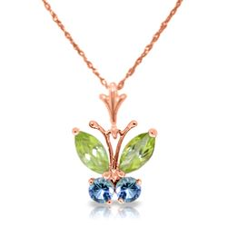ALARRI 0.6 Carat 14K Solid Rose Gold Butterfly Necklace Blue Topaz Peridot