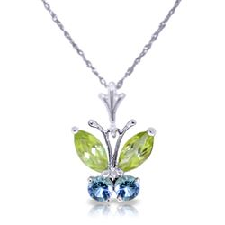 ALARRI 0.6 CTW 14K Solid White Gold Butterfly Necklace Blue Topaz Peridot