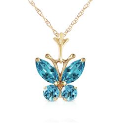 ALARRI 0.6 Carat 14K Solid Gold Butterfly Necklace Blue Topaz