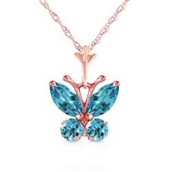 ALARRI 0.6 Carat 14K Solid Rose Gold Butterfly Necklace Blue Topaz