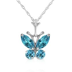 ALARRI 0.6 Carat 14K Solid White Gold Butterfly Necklace Blue Topaz