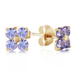 ALARRI 1.15 Carat 14K Solid Gold Stud Earrings Natural Tanzanite
