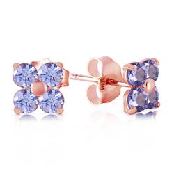 ALARRI 1.15 Carat 14K Solid Rose Gold Stud Earrings Natural Tanzanite