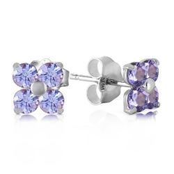 ALARRI 1.15 CTW 14K Solid White Gold Stud Earrings Natural Tanzanite