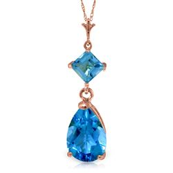 ALARRI 2 Carat 14K Solid Rose Gold Laughter Blue Topaz Necklace