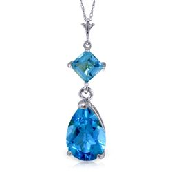 ALARRI 2 CTW 14K Solid White Gold Zenlike Blue Topaz Necklace