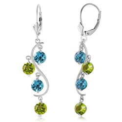 ALARRI 4.94 Carat 14K Solid White Gold Chandelier Earrings Blue Topaz Peridot