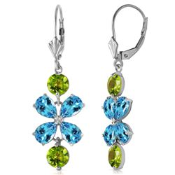 ALARRI 5.32 Carat 14K Solid Gold Still Burning Blue Topaz Peridot Earrings