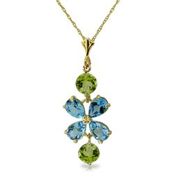 ALARRI 3.15 CTW 14K Solid Gold High Standards Blue Topaz Peridot Necklace