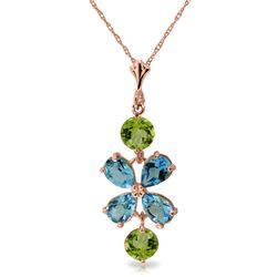ALARRI 3.15 CTW 14K Solid Rose Gold Petals Blue Topaz Peridot Necklace