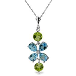 ALARRI 3.15 CTW 14K Solid White Gold Something Charming Blue Topaz Peridot Necklace