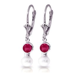 ALARRI 5.2 CTW 14K Solid White Gold Leverback Earrings Pearl Ruby