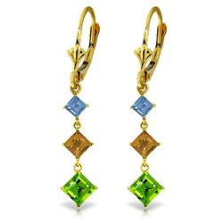 ALARRI 4.8 CTW 14K Solid Gold Waterdrops Blue Topaz, Citrine, Peridot Earrings