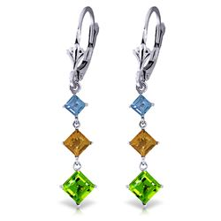 ALARRI 4.8 Carat 14K Solid White Gold Chandelier Earrings Blue Topaz, Citrine Peridot