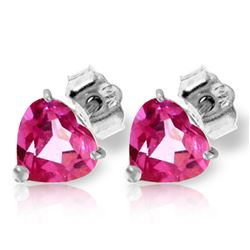 ALARRI 3.25 CTW 14K Solid White Gold Stud Earrings Natural Pink Topaz