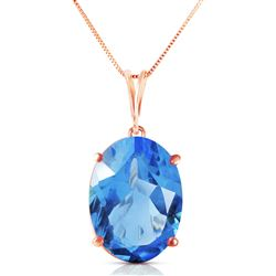 ALARRI 14K Solid Rose Gold Necklace w/ Oval Blue Topaz
