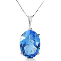 ALARRI 8 Carat 14K Solid White Gold Necklace Oval Blue Topaz