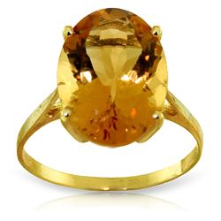 ALARRI 6 CTW 14K Solid Gold Ring Natural Oval Citrine