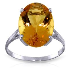 ALARRI 6 CTW 14K Solid White Gold Ring Natural Oval Citrine