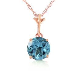 ALARRI 1.15 Carat 14K Solid Rose Gold Single Round Blue Topaz Necklace