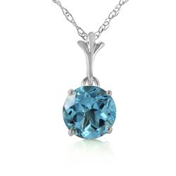 ALARRI 1.15 Carat 14K Solid White Gold Think Again Blue Topaz Necklace