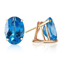 ALARRI 16 Carat 14K Solid Gold French Clips Earrings Natural Blue Topaz