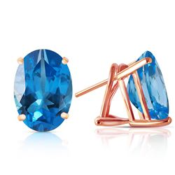 ALARRI 16 CTW 14K Solid Rose Gold French Clips Earrings Natural Blue Topaz