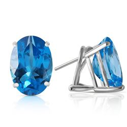 ALARRI 16 CTW 14K Solid White Gold French Clips Earrings Natural Blue Topaz