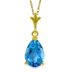 ALARRI 1.5 Carat 14K Solid Gold Life Is Everywhere Blue Topaz Necklace
