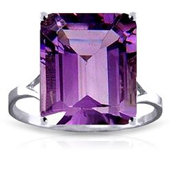 ALARRI 6.5 Carat 14K Solid White Gold Ring Natural Octagon Purple Amethyst