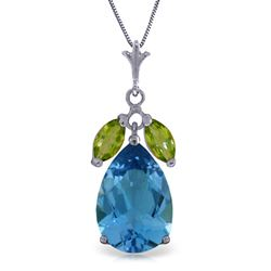 ALARRI 6.5 Carat 14K Solid White Gold Love You Crazy Blue Topaz Peridot Necklace