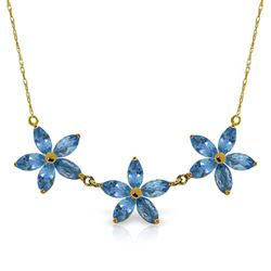 ALARRI 4.2 Carat 14K Solid Gold Inheritance Of Joy Blue Topaz Necklace