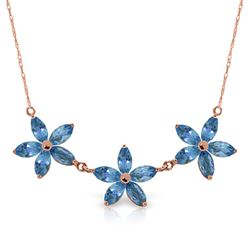 ALARRI 14K Solid Rose Gold Necklace w/ Natural Blue Topaz