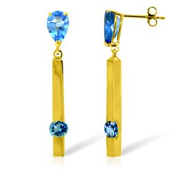 ALARRI 4.25 CTW 14K Solid Gold Bar Blue Topaz Drop Earrings