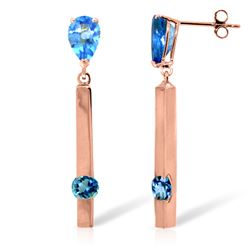 ALARRI 4.25 Carat 14K Solid Rose Gold Drop Bar Earrings Blue Topaz
