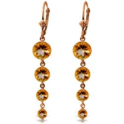 ALARRI 14K Solid Rose Gold Chandelier Earrings w/ Natural Citrines