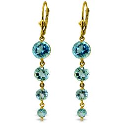ALARRI 7.8 Carat 14K Solid Gold Drizzle Blue Topaz Earrings