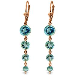 ALARRI 14K Solid Rose Gold Chandelier Earrings w/ Natural Blue Topaz