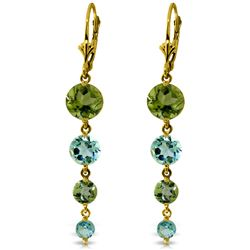 ALARRI 7.8 Carat 14K Solid Gold Chandelier Earrings Peridot Blue Topaz