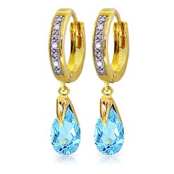 ALARRI 2.53 Carat 14K Solid Gold Marseille Blue Topaz Diamond Earrings
