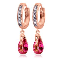 ALARRI 2.53 Carat 14K Solid Rose Gold Hoop Earrings Diamond Pink Topaz