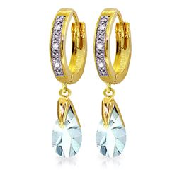 ALARRI 2.53 CTW 14K Solid Gold Hoop Earrings Diamond Aquamarine