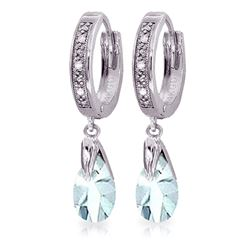 ALARRI 2.53 Carat 14K Solid White Gold Hoop Earrings Diamond Aquamarine