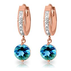 ALARRI 3.28 CTW 14K Solid Rose Gold Diamond Round Blue Topaz Drop Hoops