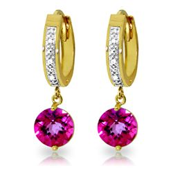 ALARRI 3.28 CTW 14K Solid Gold Organza Pink Topaz Diamond Earrings