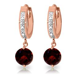 ALARRI 2.53 Carat 14K Solid Rose Gold Hoop Earrings Diamond Garnet