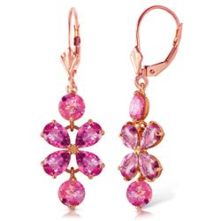 ALARRI 5.32 Carat 14K Solid Rose Gold Pink Topaz Flower Earrings