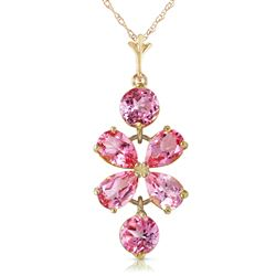 ALARRI 3.15 Carat 14K Solid Gold Flee From Memory Pink Topaz Necklace