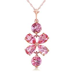 ALARRI 3.15 Carat 14K Solid Rose Gold Petals Pink Topaz Necklace