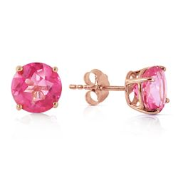 ALARRI 3.1 CTW 14K Solid Rose Gold Anna Pink Topaz Stud Earrings